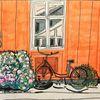 Fahrrad, Rose, Fenster, Haus