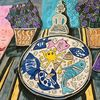 Tisch, Vase, Fischteller, Pflanzen