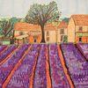 Häuser, Lila, Lavendelfeld, Baum